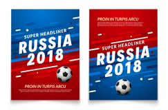 Sport event flyer template. Russia 2018 soccer cup background championship. Football trend brochure design.  Royalty Free Stock Image