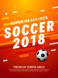 Sport event flyer template. Russia 2018 soccer cup background championship. Football trend brochure design.  Royalty Free Stock Images