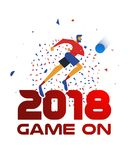2018 sport event illustration with soccer player. Festive poster design for a 2018 sport event. Soccer player running at ball with confetti background and Royalty Free Stock Image