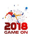2018 sport event illustration with soccer player. Man playing soccer with ball and 2018 red quote. Special football event illustration ideal for sport tournament Royalty Free Stock Images