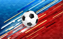 Sport event web banner with soccer ball. Soccer event illustration, web banner design of football ball with festive color background. EPS10 vector Stock Image