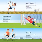 Sport events. Soccer characters playing football. Design template of horizontal banners. Soccer player on poster, best goal and goalkeeper. Vector illustration Royalty Free Stock Photos