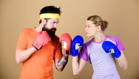 Sport for everyone. Amateur boxing club. Equal possibilities. Strength and power. Man and woman in boxing gloves. Family royalty free stock photos