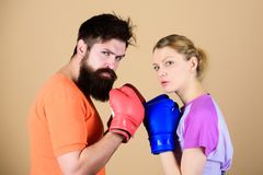 Sport for everyone. Amateur boxing club. Equal possibilities. Strength and power. Man and woman in boxing gloves. Be. Sport for everyone. Amateur boxing club royalty free stock photo