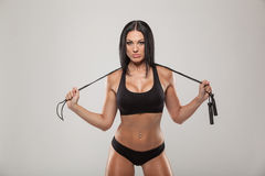 Sport, Exercise And Healthcare - Sporty Woman With Royalty Free Stock Image