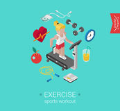 Sport exercise workout flat 3d isometric concept vector icon Royalty Free Stock Photography