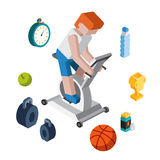 Sport exercise workout flat 3d isometric modern Stock Images