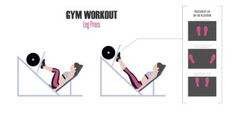 Sport exercises. Exercises in a gym. Leg press. Positions of leg on the platform. Woman doing exercise on leg press machine in gym. Illustration of an active Royalty Free Stock Photos