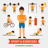 Sport and exercises infographic elements. Sportsman is engaged in the gym, pushes, hold the dumbbell, shakes the press. Riding a bike, winner of championship Royalty Free Stock Photo