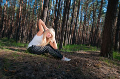 Sport exercises in nature Royalty Free Stock Images