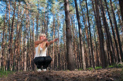 Sport exercises in nature Stock Photo