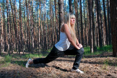 Sport exercises in nature Royalty Free Stock Photography