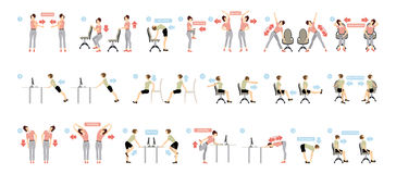Sport exercises for office. Office yoga for tired employees with chair and table royalty free illustration
