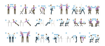 Sport exercises for office. Office yoga for tired employees with chair and table Royalty Free Stock Photo