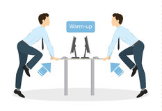 Sport exercises for office. Office yoga for tired employees with chair and table. Warm-up Royalty Free Stock Photography