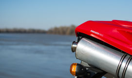 Sport Exhaust of red Ducati 996 Motorcycle Royalty Free Stock Photography