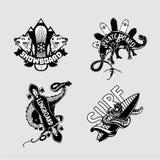 Sport extrême Embleme de vintage réglé avec des conseils Longboard, patin, surf des neiges et surfer Copies noires et blanches de Photo stock