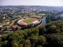 Sport för fotboll för fotboll för stadion Gera för flyg- sikt Royaltyfri Foto