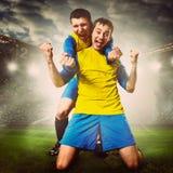 sport för fotboll för tecknad filmteckenspelare Fotografering för Bildbyråer