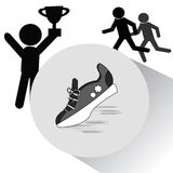 sport för kroppsbyggaresymbolssilhouette Fotografering för Bildbyråer