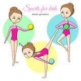 Sport für Kinder Künstlerische Gymnastik Stockbilder