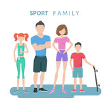 Sport family. Father, mother, daughter and son. Healthy lifestyle. Stock Images