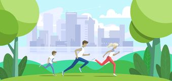 Sport family. Father, mother and son jogging in the park. Big city on background. Vector illustration royalty free stock image