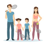 Sport family play tennis. Stock Photography