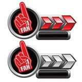 Sport fan hand on red and white arrow nameplates Royalty Free Stock Photos
