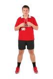 Sport fan man. On white Royalty Free Stock Photography