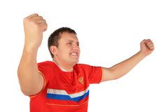 Sport fan man with hands up Royalty Free Stock Photography