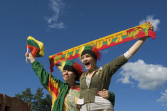 Sport fans. With Lithuanian symbols Stock Photos