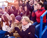 Sport fans clapping and singing on tribunes Royalty Free Stock Photos