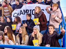 Sport fans holding champion banner on tribunes Royalty Free Stock Photography