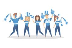 Sport fans set. Sport fans. RBlue team in outfit on white Stock Images