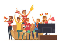 Sport Fans Watching Tv Composition Royalty Free Stock Photo