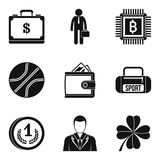 Sport fee icons set, simple style. Sport fee icons set. Simple set of 9 sport fee vector icons for web isolated on white background Royalty Free Stock Photos