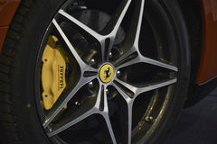 Sport Ferrari car wheel. 11th Car and Motorcycle Tuning Show in Hungexpo, Budapest, Hungary. Photo taken to: March 19th, 2016 Stock Photos
