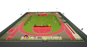 Sport Field 3d Model Isolated On White Royalty Free Stock Image