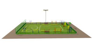 Sport Field 3d Model Isolated On White Stock Photography