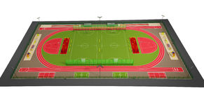 Sport field 3d model isolated on white. Project of large field with equipment for different kinds of sport on white background Royalty Free Stock Images