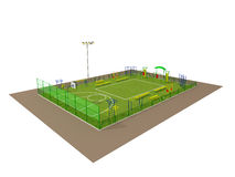Sport field 3d model isolated on white. Project of large field with equipment for different kinds of sport on white background Royalty Free Stock Image