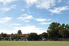 Sport field, football field or soccer field with blue sky background Stock Images