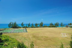 Sport field next to sea Royalty Free Stock Image