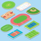 Sport field vector flat isometric icon set. Cricket, basketball, hockey, baseball, athletics, tennis, volleyball, soccer and football fields or courts. Outdoor royalty free illustration