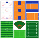 Sport Fields. Vector collection of various sport fields Stock Photos
