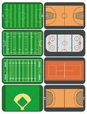 Sport fields and courts. Vector representation of sport fields and courts Stock Photos