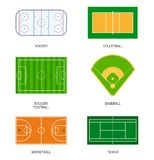 Sport fields: hockey, volleyball, soccer, football, baseball, basketball and tennis. Stock Image