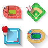 Sport fields illustration icons set Royalty Free Stock Photos
