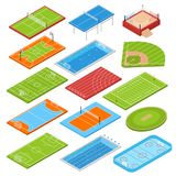Sport Fields Isometric Set. Sport clubs football soccer fields isometric icons collection with basketball tennis courts boxing ring swimming pool vector royalty free illustration